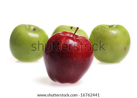 Red and green apples isolated on white background