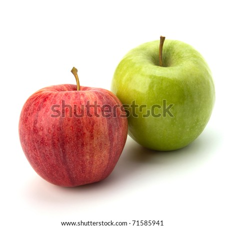 red and green apples isolated on white background - stock photo