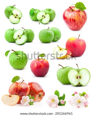 Red and green apples with leaves and water drops on a white background - stock photo