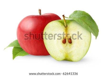 Red and green apples with leaves isolated on white - stock photo