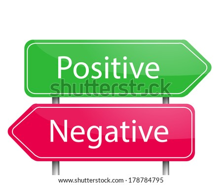 "Red and green arrow sign post ""Positive"" and ""Negative"" - stock photo"