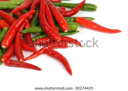 red and green chillis