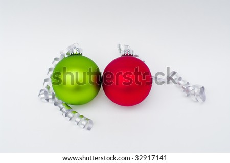 Red and Green Christmas Ornaments - stock photo