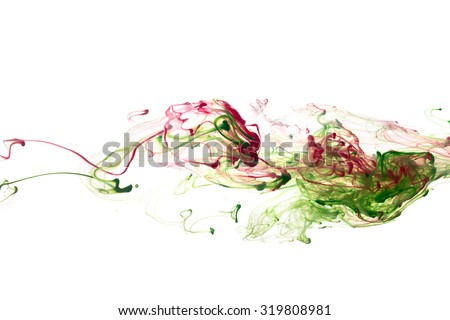 Red, and green color ink paint abstract pattern in water liquid - stock photo