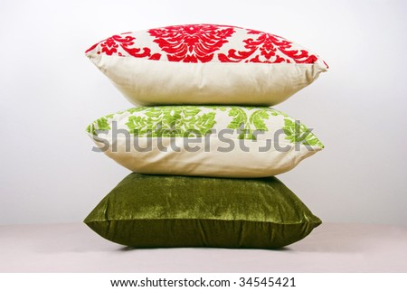 Red and Green cushions - stock photo