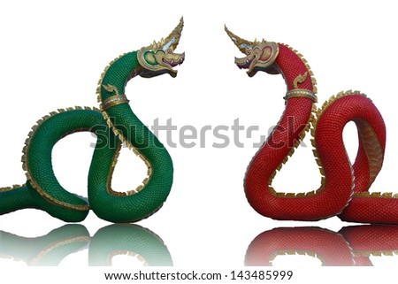 Red and green dragon. Design that has the power and beauty of a skilled technician. According to the beliefs of the Chinese mainland. Worldwide. - stock photo