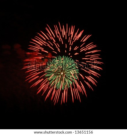Red and green fireworks on Independence day - stock photo