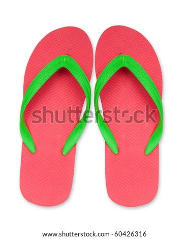 red and green flip flop sandals isolated - stock photo