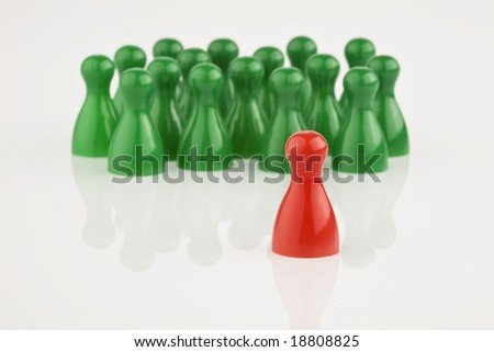 red and green game stones on a white background - stock photo