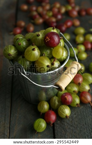 Red and green gooseberry in pail on wooden table close-up