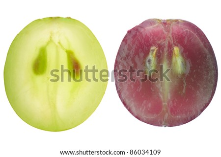 Red and green grape berry section isolated on white, clipping path included - stock photo