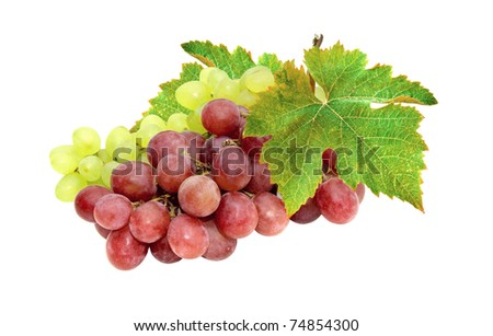 Red and green grapes isolated on white. Cluster ripe grapes with green leaves. - stock photo