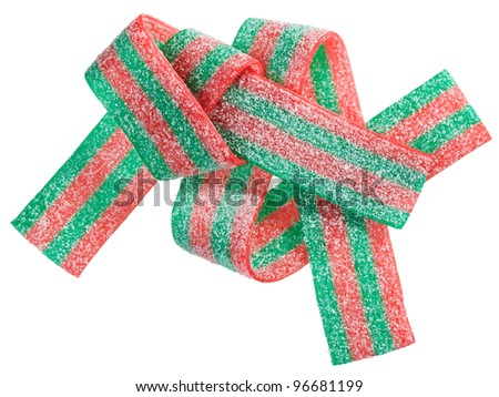 Red and green gummy candy (licorice) band, isolated on white closeup view - stock photo