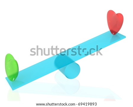 Red and green hearts on blue seesaw with white isolated background. 3D render. - stock photo