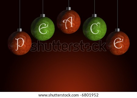 red and green ornaments that spell peace - stock photo