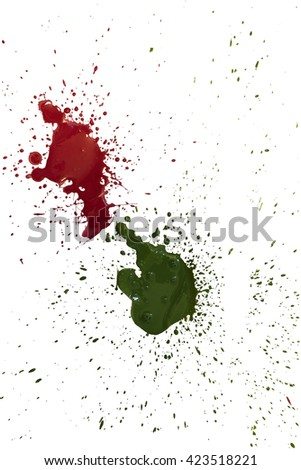 Red and green paint blots isolated on white background.
