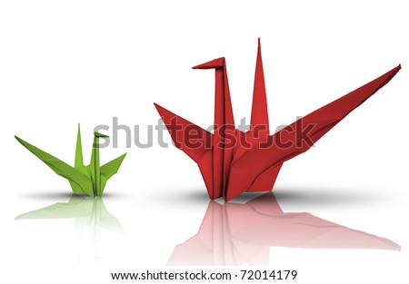 Red and green paper bird on reflect floor - stock photo