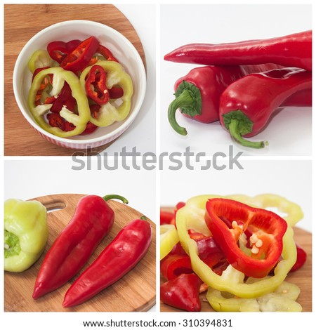 Red and green paprika collage image. - stock photo