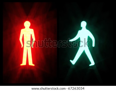 Red and Green pedestrian Crossing Signal On - stock photo