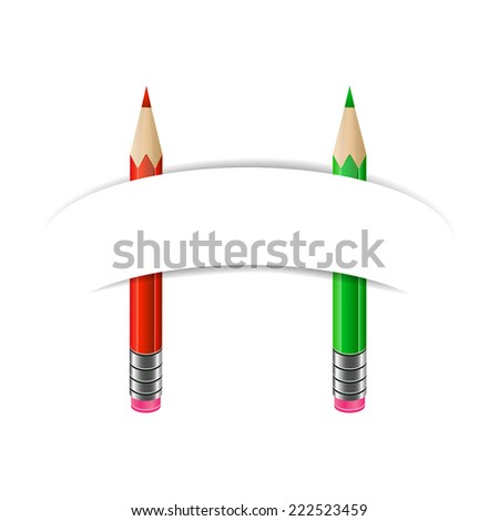 Red and green pencils with blank paper banner. Art and education, stationary - stock photo