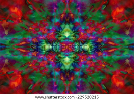 Red and green psychedelic kaleidoscope pattern - stock photo