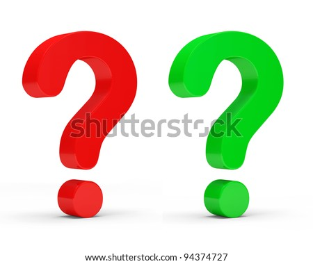 Red and Green Question Marks on white background - stock photo
