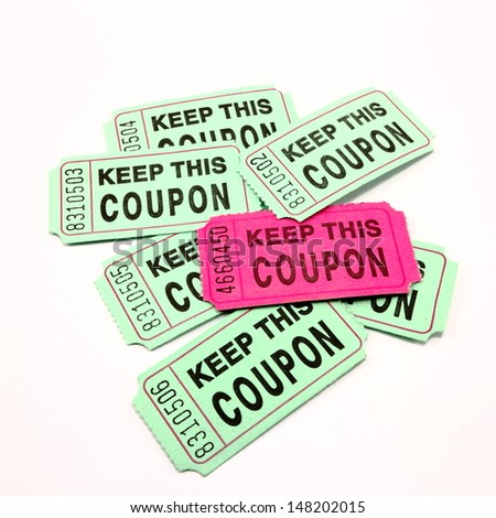 Red and green raffle tickets - stock photo