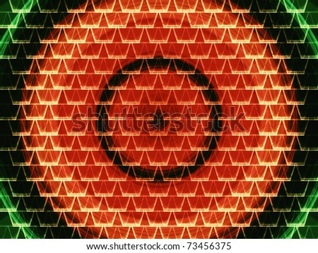 Red and green seamless abstract vortex under white graphic cell shapes - stock photo