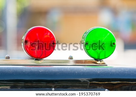 Red And Green Sirens On Car Top - stock photo