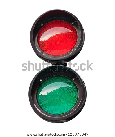 Red and green small round traffic light isolated on white - stock photo