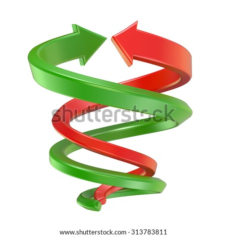 Red and green spiral arrows. 3D render illustration isolated on white background - stock photo