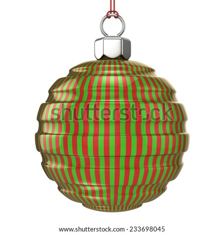 Red and green striped Christmas ball isolated on white background. 3D illustration. - stock photo