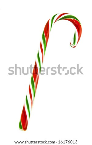 Red and green striped peppermint candy cane against a white background. - stock photo