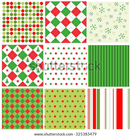 Red and green stripes, dots and stars christmas seamless pattern collection