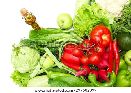 Red and green vegetables shaped as heart close-up - stock photo
