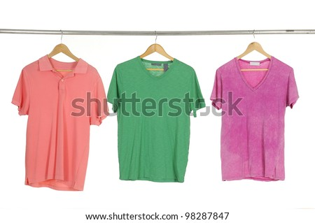 Red and green with orange T-shirt on the hanger
