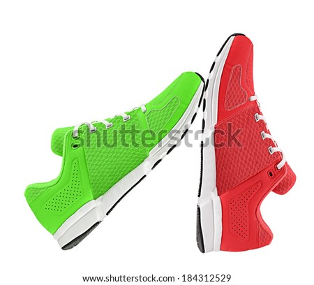 red and green womens sport shoes - stock photo