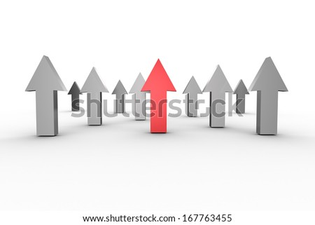 Red and grey arrows pointing up - stock photo