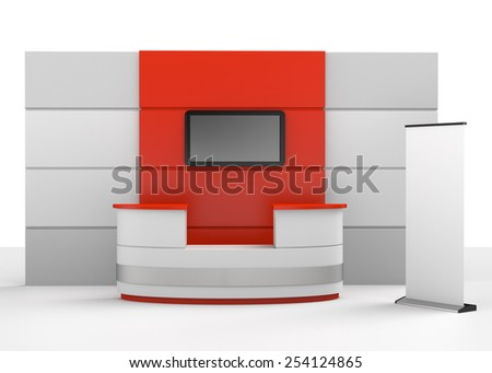 red and grey booth or stall - stock photo