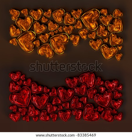 red and orange glass hearts in the shape of wave on dark background