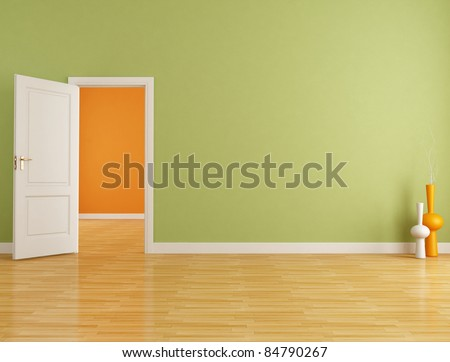 Red and orange interior with open white door - rendering - stock photo