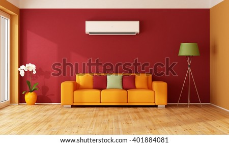 Red and  orange living room with colorful sofa and air conditioner - 3D Rendering - stock photo