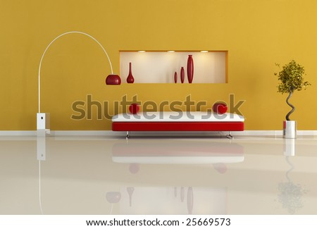 red and orange living room with niche and modern sofa