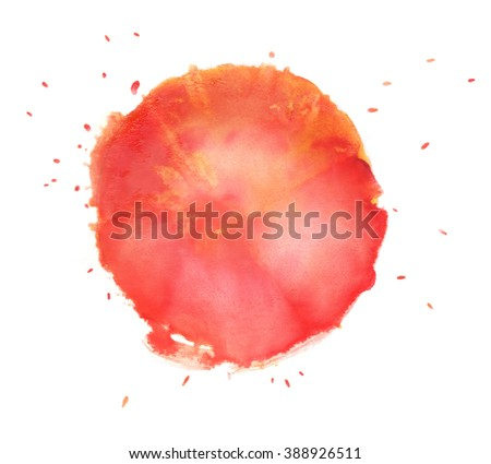 Red and orange watercolor circle. Colorful Watercolor design elements. Orange wet hand painted round splash circle.  - stock photo