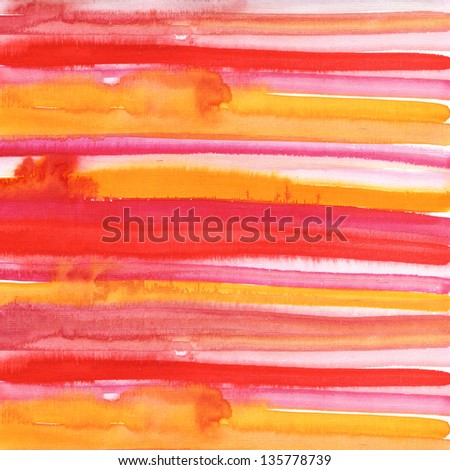 Red and orange watercolor hand drawn brush strokes - stock photo
