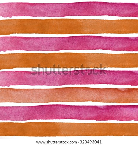 Red and orange Watercolor hand painted brush strokes, striped background - stock photo