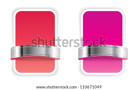 Red and pink banners / badges with metallic decorations - raster version