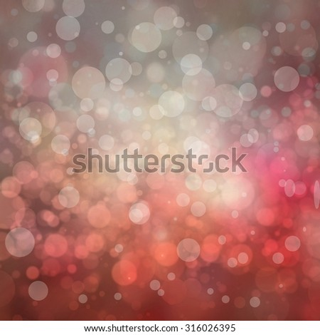 red and pink bokeh background, blurred white lights, floating bubbles or layers of circles shapes in pretty Christmas or Valentines day background design - stock photo