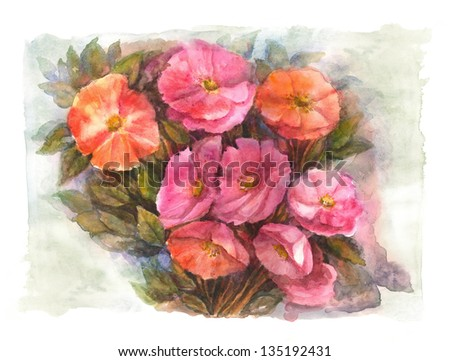 Red and Pink Flowers - stock photo