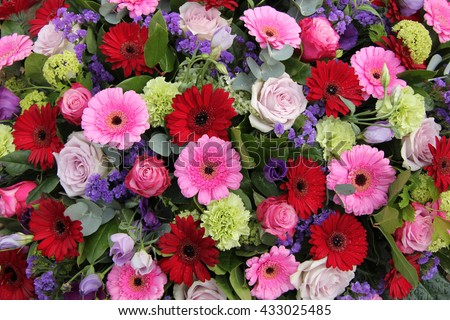 Mixed flower arrangement various flowers different stock - Purple and red go together ...